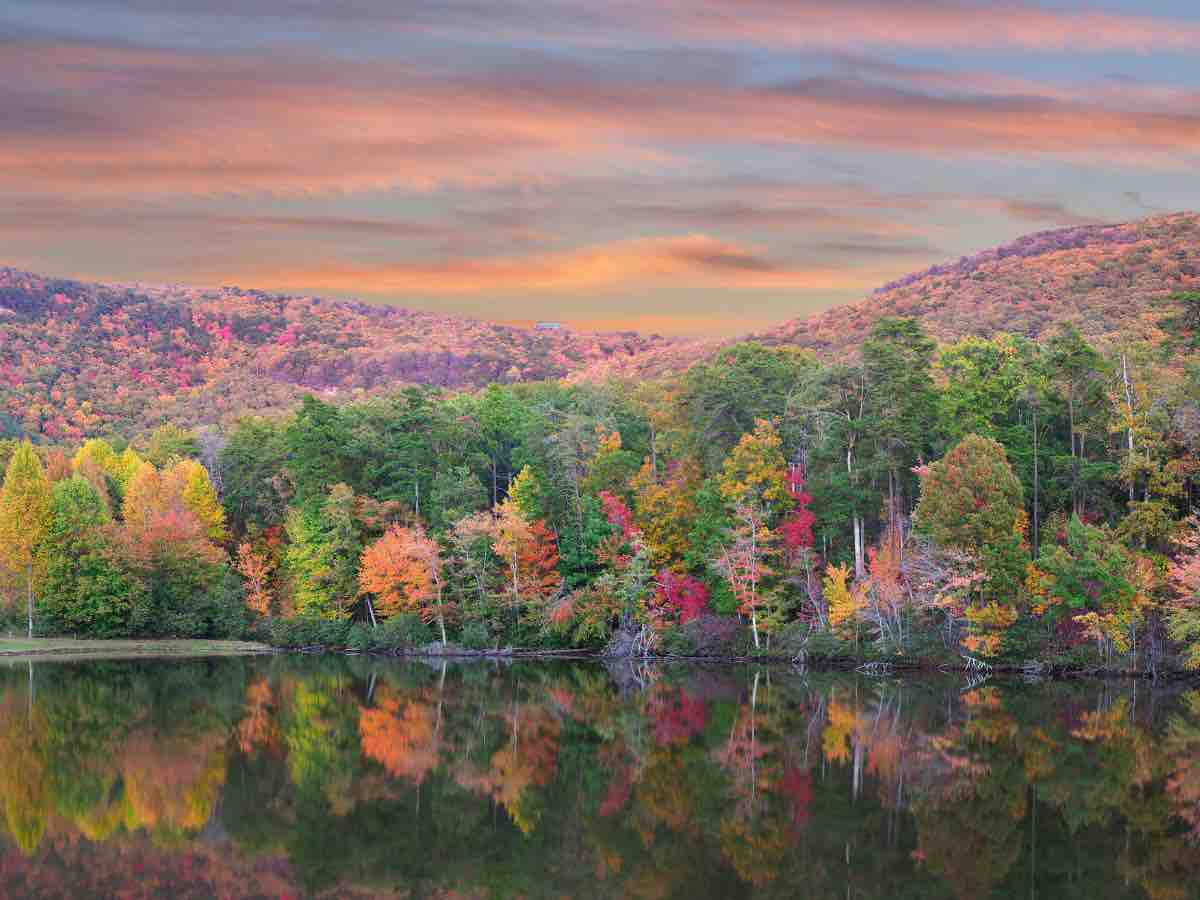 colorful fall foliage reflected on the lake at Mount Cheaha