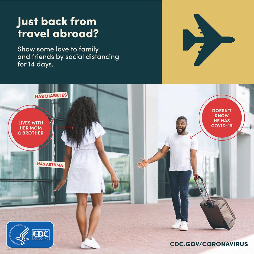 Female family member greeting traveler returning home