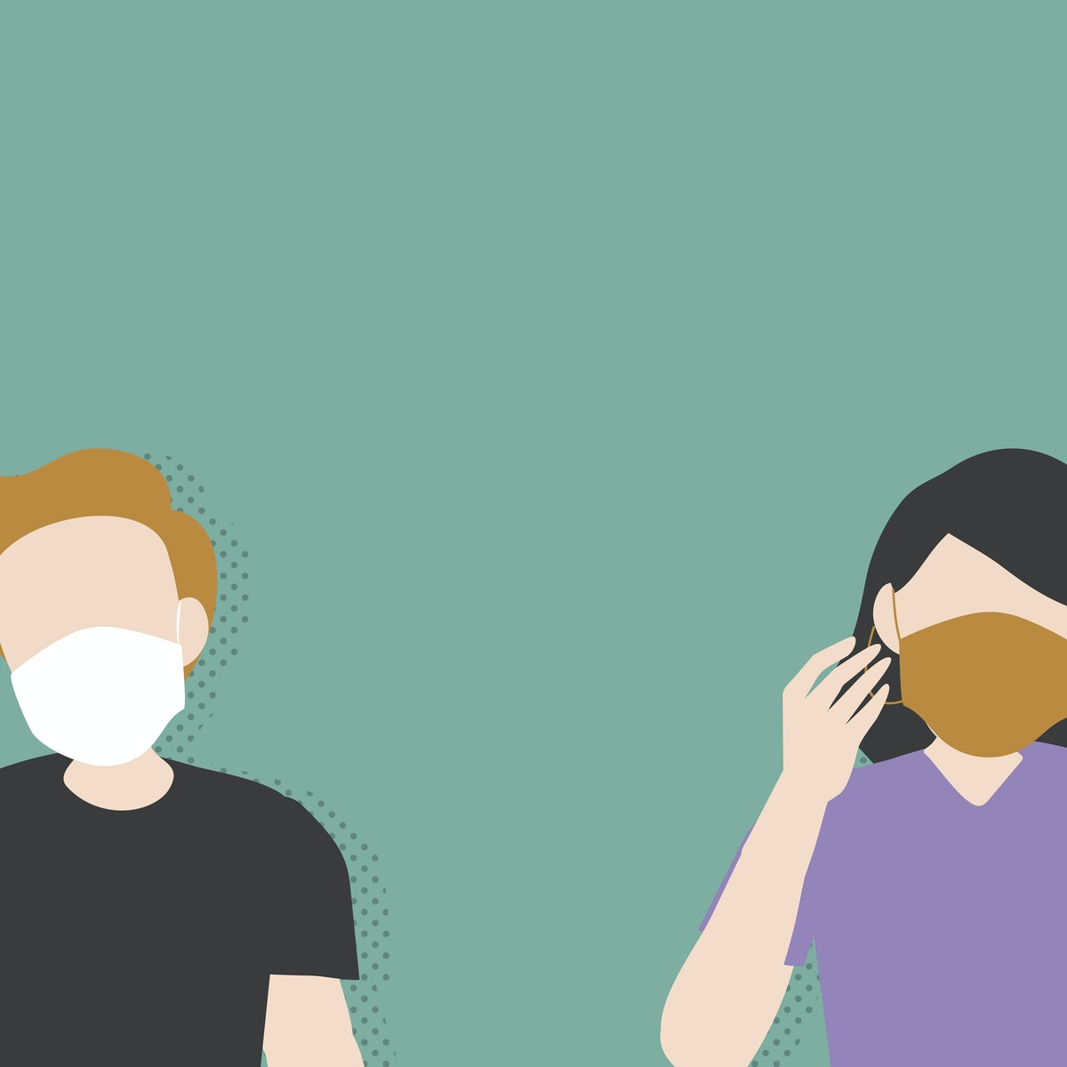 Illustration of two people wearing face coverings