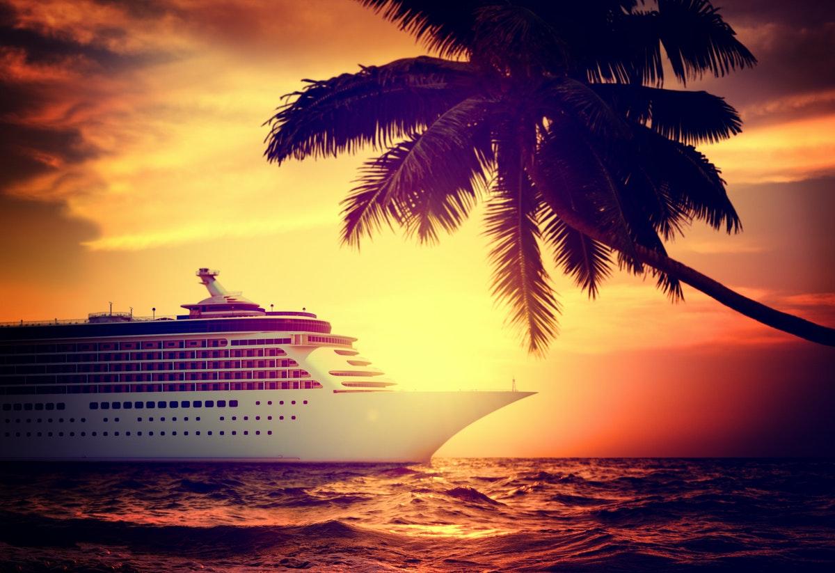 Cruise ship in the caribbean sunset