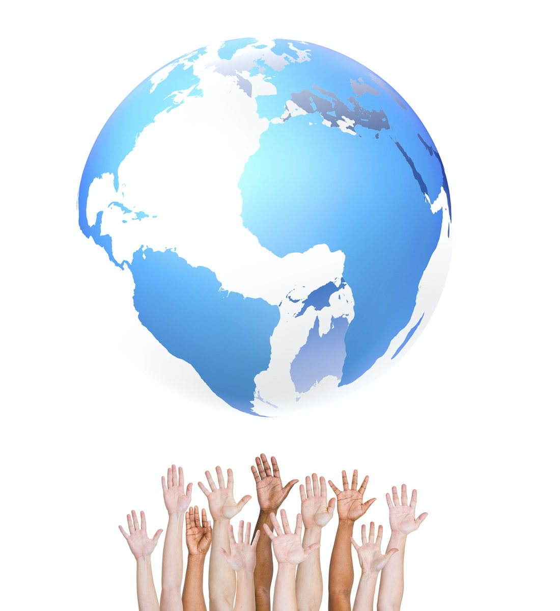 Group of ethnically diverse hands holding up the globe
